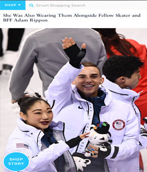 SONIA HOU Jewelry featured in POPSUGAR for designing the good luck FIRE earrings that U.S. Figure Skater Mirai Nagasu wore at the Winter Olympics 2018 while posing with Adam Rippon