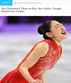 SONIA HOU Jewelry featured in POPSUGAR for designing the good luck earrings that U.S. Figure Skater Mirai Nagasu wore at the Winter Olympics 2018