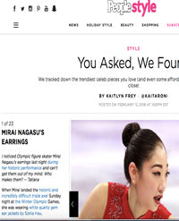 SONIA HOU Jewelry's celebrities / press exposure includes PEOPLE Style featuring Olympic U.S. Figure Skater Mirai Nagasu Wearing Her FIRE Earrings