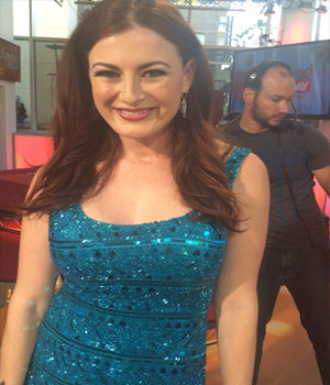 Reality TV star Rachel Reilly wearing SUCCESS Earrings by SONIA HOU Jewelry on FOX's Hollywood Today Live and CBS' Big Brother.