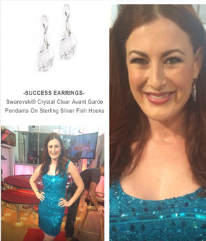 Reality TV star Rachel Reilly wearing SUCCESS Earrings by SONIA HOU Jewelry on FOX's Hollywood Today Live