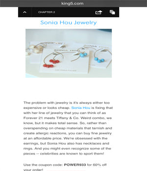 NBC's SEATTLE KING 5 Local News Featured SONIA HOU Jewelry