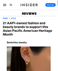 Business Insider featured Sonia Hou Jewelry as AAPI Fashion Brand to Support