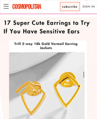 Cosmopolitan featured Sonia Hou Jewelry as one the 17 Super Cute earrings to try if you have sensitive ears