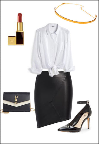 CEO 18K Gold Vermeil Choker Necklace by Sonia Hou Jewelry paired with women's leather asymmetrical skirt, white blouse, YSL purse and red chanel lipstick