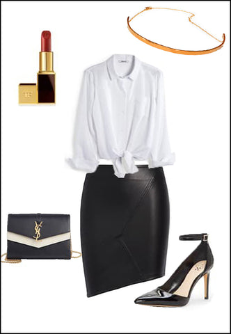 CEO 18K Rose Gold Vermeil Choker Necklace by Sonia Hou Jewelry paired with women's leather asymmetrical skirt, white blouse, YSL purse and red chanel lipstick