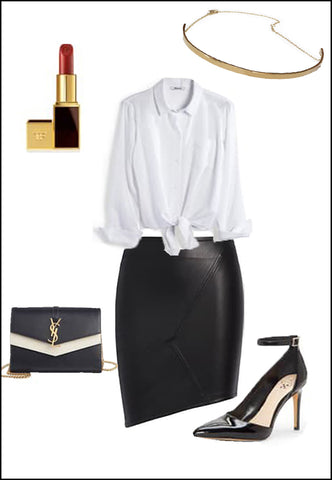 CEO Sterling Silver Choker Necklace by Sonia Hou Jewelry paired with women's leather asymmetrical skirt, white blouse, YSL purse and red chanel lipstick