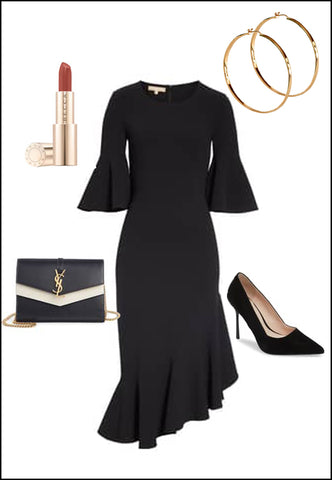 ETERNITY 18K Gold Vermeil Hoop Earrings by Sonia Hou Jewelry paired with bcbg black dress, chanel red lipstick, YSL Purse and black hoops