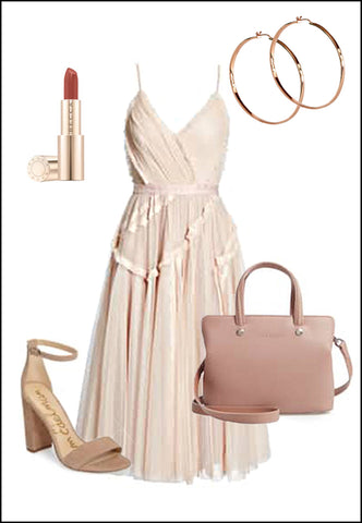 ETERNITY 18K Rose Gold Vermeil Hoop Earrings by Sonia Hou Jewelry paired with blush dress, chanel red lipstick and nude tan sam Edelman heels