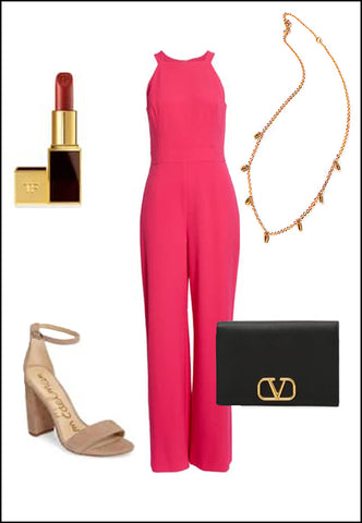 Minimalist Rice Bead Necklace in 18K Rose Gold Vermeil by Sonia Hou Jewelry paired with women's coral jumpsuit, nude sam Edelman heels, red chanel lipstick and black purse