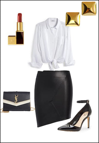 Square 18K Gold Vermeil Stud earrings by Sonia Hou Jewelry paired with women's leather asymmetrical skirt, white blouse, YSL purse and red chanel lipstick