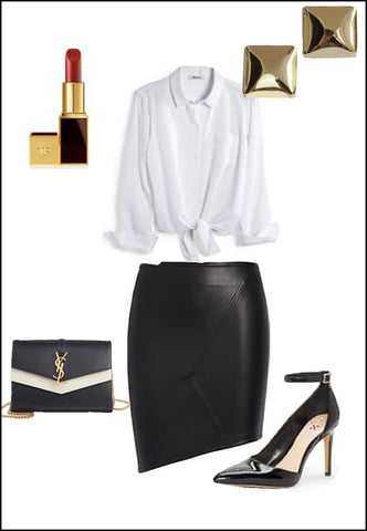 Square Sterling Silver Stud earrings by Sonia Hou Jewelry paired with women's leather asymmetrical skirt, white blouse, YSL purse and red chanel lipstick