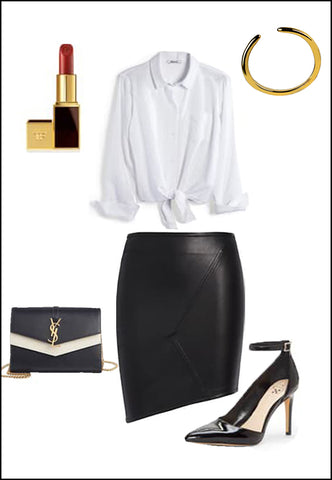Success 18K Gold Vermeil Adjustable ring by Sonia Hou Jewelry paired with women's leather asymmetrical skirt, white blouse, YSL purse and red chanel lipstick