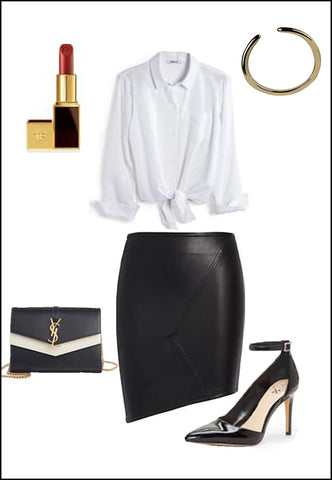 Success Sterling Silver Adjustable ring by Sonia Hou Jewelry paired with women's leather asymmetrical skirt, white blouse, YSL purse and red chanel lipstick