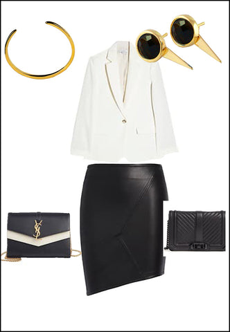 Sonia Hou Fire black onyx earrings paired with YSL purse and white blouse and gold cuff bracelet
