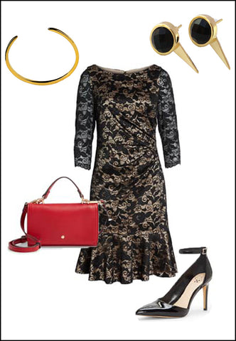 FIRE Black Onyx Earring Jackets by Sonia Hou Jewelry paired with black lace dress, red Chanel purse, black pumps and gold cuff bracelet