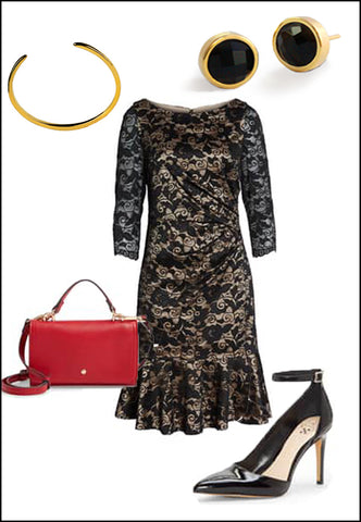Fire Black Onyx Round Studs by Sonia Hou Jewelry paired with black lace dress, christian loubatin pumps, red chanel purse and gold cuff bracelet