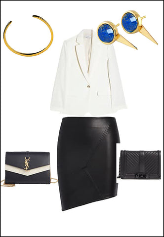 Sonia Hou Fire blue denim lapis lazuli  earrings paired with YSL purse and white blouse and gold cuff bracelet