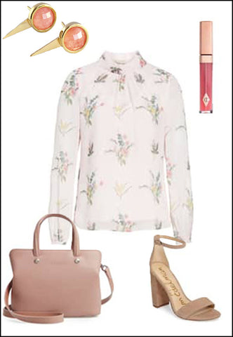 FIRE Pink Coral Ear Stud Jackets by Sonia Hou Jewelry paired with floral summer top, blush purse, sam Edelman nude pumps