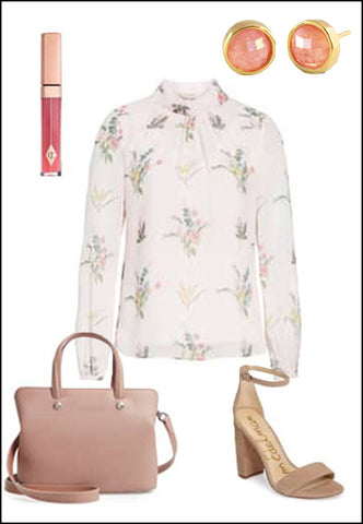Sonia Hou Fire pink coral ear stud earrings paired with YSL purse and white blouse and gold cuff bracelet