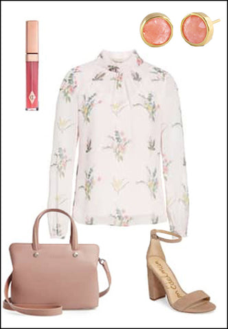 Fire Pink Coral Round Ear Studs by Sonia Hou jewelry paired with floral summer top, nude sam Edelman heels, and blush purse