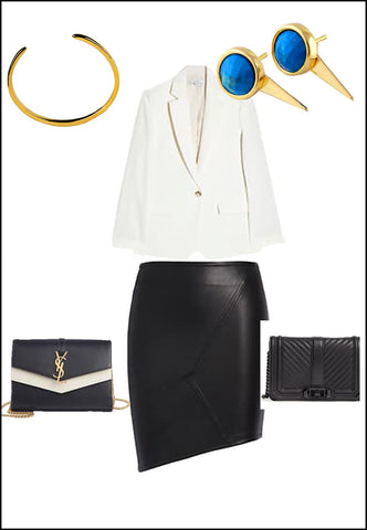 Sonia Hou Fire turquoise ear jacket earrings paired with YSL purse and white blouse and gold cuff bracelet