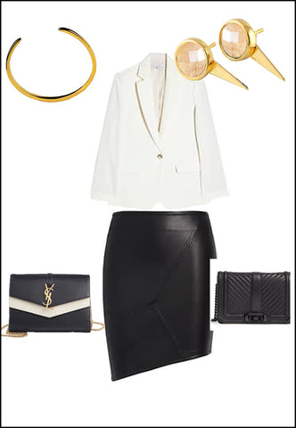 Sonia Hou Fire white quartz ear jacket earrings paired with YSL purse and white blouse and gold cuff bracelet