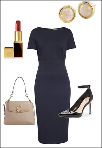 Fire White Quartz Earring Studs by Sonia Hou Jewelry paired with black dress, christian loubatin pumps and nude purse