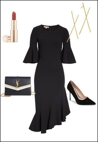 Long Chopstick Earrings in 18K Gold Vermeil by Sonia Hou Jewelry paired with black dress, YSL purse and red chanel lipstick
