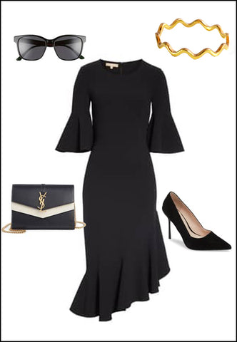 Noodle 18K Gold Vermeil Ring by Sonia Hou Jewelry paired with black dress, YSL purse, black pumps and sunglasses
