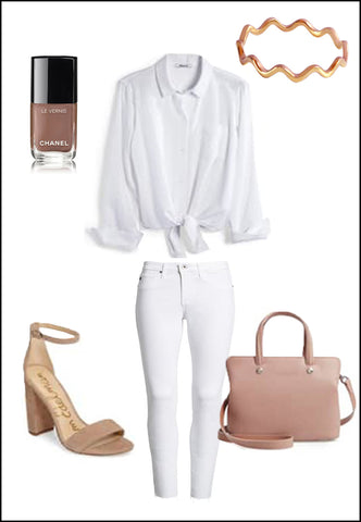 Noodle 18K Rose Gold Vermeil Ring by Sonia Hou Jewelry paired with white blouse, white jeans, nude heels and chanel nail polish