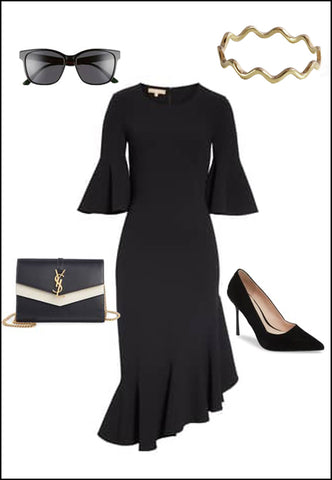 Noodle Sterling Silver Ring by Sonia Hou Jewelry paired with black dress, YSL purse, black pumps and sunglasses