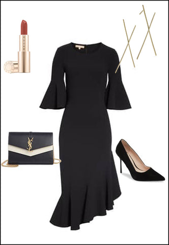 Long Chopstick Earrings in Sterling Silver by Sonia Hou Jewelry paired with black dress, YSL purse and red chanel lipstick