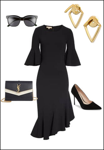 Trill 18K Gold Vermeil Earring Jackets by Sonia Hou Jewelry paired with black dress, YSL dress, black pumps and sunglasses