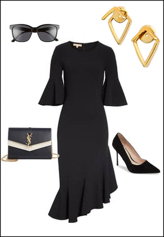Sonia Hou Trill Gold Ear Jacket Earrings paired with black dress