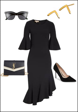 Trill 18K Gold Vermeil Wishbone Ear Studs by Sonia Hou Jewelry paired with black dress, pumps and YSL purse with sunglasses