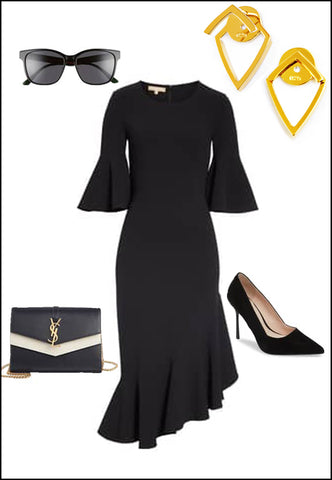 Trill 18K Gold Vermeil Earring Jackets by Sonia Hou Jewelry paired with Black dress, shoes and sunglasses