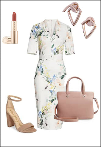 Trill Rose Gold Earring Jackets by Sonia Hou Jewelry paired with women's floral dress, nude heels and blush purse