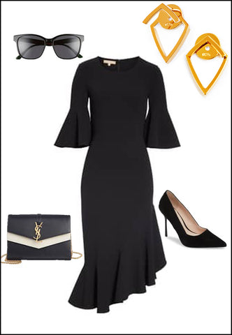 Trill 18K Rose Gold Vermeil Earring Jackets by Sonia Hou Jewelry paired with Black dress, shoes and sunglasses