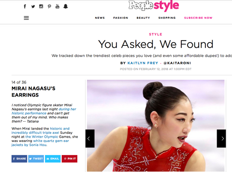 PEOPLE Style Featured Olympic U.S. Figure Skater Mirai Nagasu's FIRE Earrings Designed By SONIA HOU Jewelry