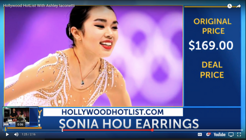 Karen Chen wearing TRILL 18K Gold Vermeil Earrings by SONIA HOU Jewelry which were featured on National Cable Channel Reelz and Celebrity Page TV