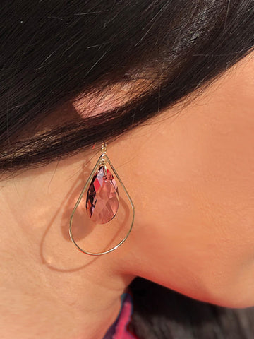Asian model wearing Selfie Rose Pink Swarovski Crystal Earrings by Sonia Hou Jewelry