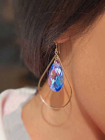 Female Model wearing SELFIE 14K Gold Swarovski Crystal Earrings In Sake Blue by SONIA HOU Jewelry