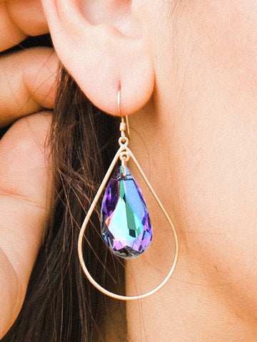 SELFIE 14K Gold Swarovski Crystal Earrings In Vitrail Light by SONIA HOU Jewelry