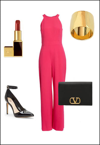 Rich 18K Gold Vermeil Ring by Sonia Hou Jewelry paired with women's coral jumpsuit, black pumps and purse, and red chanel lipstick