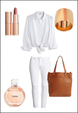 Rich 18K Rose Gold Vermeil Ring by Sonia Hou Jewelry paired with women's white pants, white blouse, chanel pink perfume and Charlotte tilbury lipstick