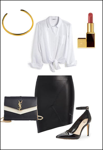 Success 18K Gold Vermeil Cuff Bracelet by Sonia Hou Jewelry paired with women's black leather skirt, white blouse, YSL purse, red chanel lipstick and black heels