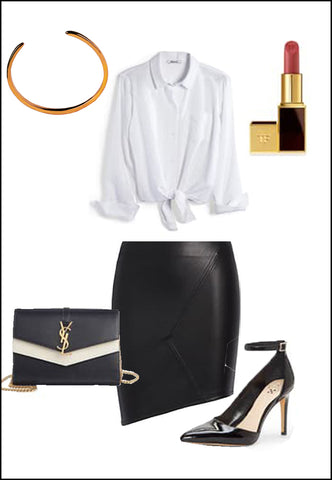 Success 18K Rose Gold Vermeil Cuff Bracelet by Sonia Hou Jewelry paired with women's black leather skirt, white blouse, YSL purse, red chanel lipstick and black heels