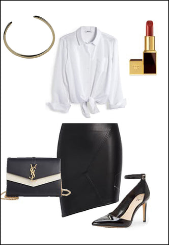 Success Sterling Silver Cuff Bracelet by Sonia Hou Jewelry paired with women's black leather skirt, white blouse, YSL purse, red chanel lipstick and black heels