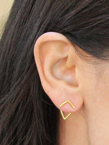 Female Model Wearing TRILL 18K Gold Vermeil Earrings by SONIA HOU Jewelry